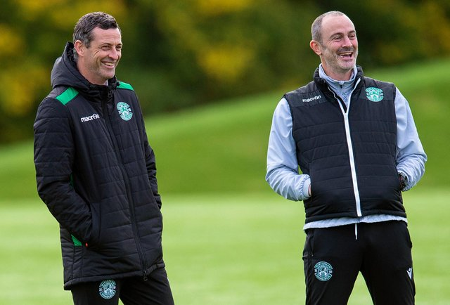 Assistant manager John Potter is a fun character in the Hibs camp and a vocal presence in the technical area. Photo by Ross MacDonald/SNS Group