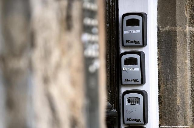 AirBnB locks outside a block of flats in Edinburgh