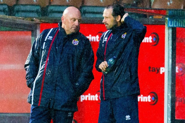 Gary Bollan (left) and his Cowdenbeath assistant Craig Easton are not happy with hectic schedule as lower league football resumes