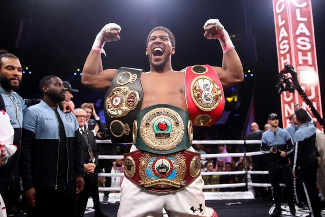 Anthony Joshua, pictured after beating Andy Ruiz in December 2019, will put his belts on the line against Kubrat Pulev. (Pic: PA)
