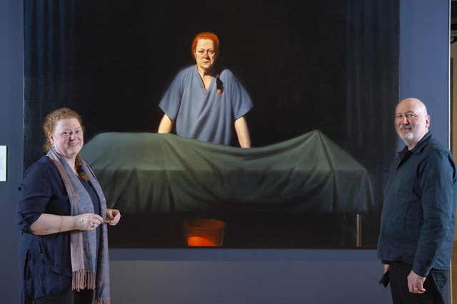 Professor Dame Sue Black and artist Ken Currie in front of Currie's new portrait, called Unknown Man (Picture: Neil Hanna)