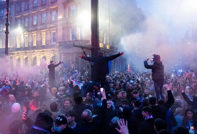Rangers fans broke lockdown rules to celebrate their title win last weekend. Picture: SNS