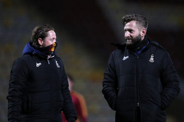 Mark Trueman, right, with co-manager Conor Sellars, has revived Bradford City's fortunes. Picture: George Wood/Getty Images