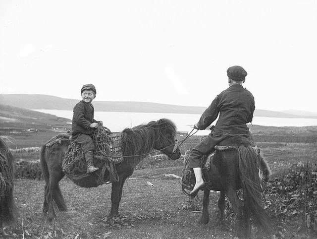Young boys on Shetland would play a game during the three-day festival of Beltane and the loser, who dropped a piece of good-luck fire, had to get down on their hands and knees and pretend to be a packhorse. PIC: Shetland Museums and Archives.