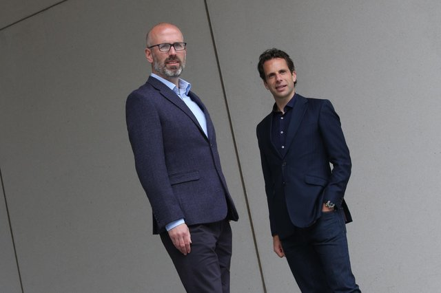 Mark Beaumont (right) with Andrew McNeill of Eos Advisory. Picture: Stewart Attwood.