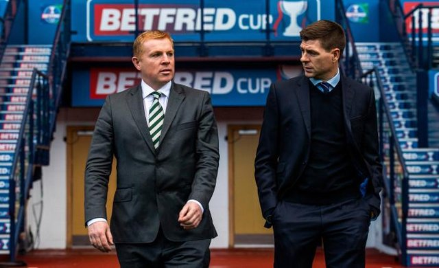 Steven Gerrard won four and lost three of the seven Old Firm matches in which his Rangers team faced Celtic under Neil Lennon. (Photo by Alan Harvey / SNS Group)