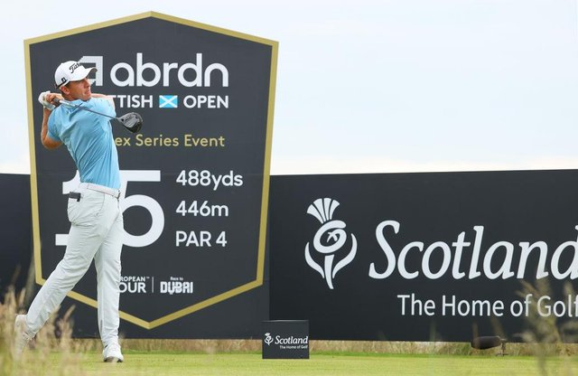 Grant Forrest tees off on the 15th hole in the first round of the abrdn Scottish Open at The Renaissance Club. Picture: Andrew Redington/Getty Images.