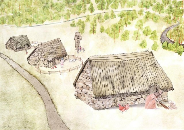 An artist's reconstruction of how the settlement at Netherton Cross would have looked. It disappeared in the 18th Century as the Duke of Hamilton embarked on turning part of his estate into a vast parkland. PIC: Jennifer Colquhoun.