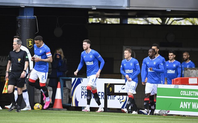 Rangers players enter the pitch during the Scottish Premiership match between Livingston and Rangers at the Tony Macaroni Arena on May 12, 2021, in Livingston, Scotland.  (Photo by Rob Casey / SNS Group)