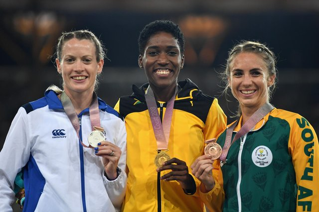 Showing off her silver medal on the podium at the Gold Coast 2018 Commonwealth Games.