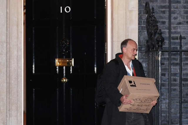 Prime Minister Boris Johnson's top aide Dominic Cummings leaves 10 Downing Street, London, with a storage box. Picture: Yui Mok/PA Wire