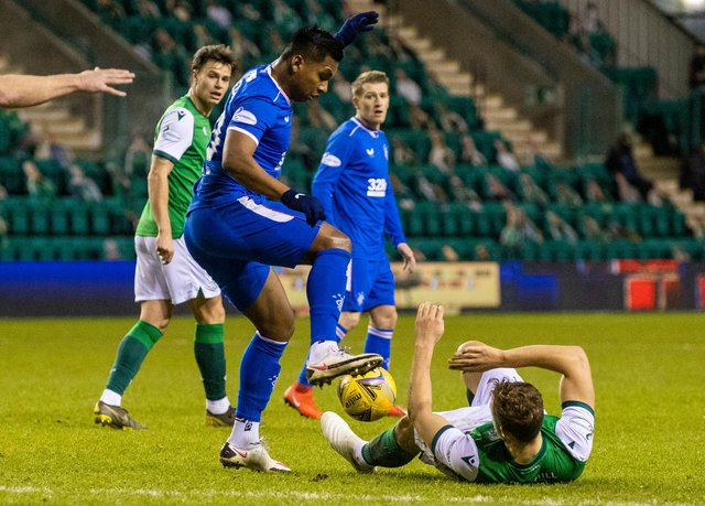 Kris Boyd couldn't understand what Alfredo Morelos was doing stamping on Ryan Porteous. Picture: SNS