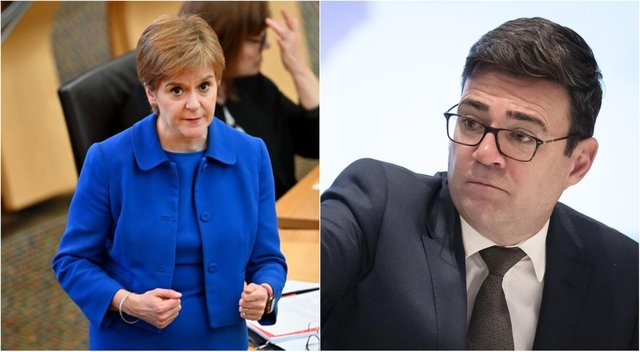 First Minister Nicola Sturgeon, left, has crossed swords with Greater Manchester mayor Andy Burnham, right.