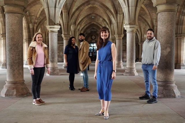 Left to right: Hannah Fisher of Start-up Drinks Lab, Arti Poddar and Usman Mohammed of Guy & Beard, Evelyn McDonald of Scottish Edge, and Scott McCulloch of TheVeganKind. Picture: Stewart Attwood