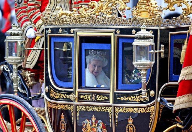 Queen Elizabeth II leaving Buckingham Palace for the State Opening of Parliament in central London. Picture: Chris Radburn/PA Wire