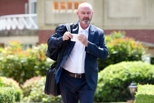 Scotland manager Steve Clarke pictured departing the team hotel to head back to Glasgow from Rockliffe Hall. (Photo by Craig Williamson / SNS Group)
