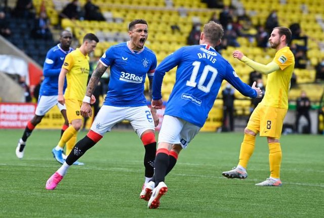 Rangers captain James Tavernier celebrates his 19th goal of the season after opening the scoring in his team's 3-0 win at Livingston.  (Photo by Rob Casey / SNS Group)