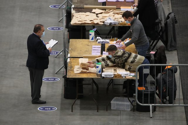 ALBA party leader Alex Salmond watches votes being counted for the Scottish Parliamentary Elections at the P&J Live/TECA, Aberdeen.