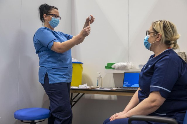 Staff vaccination at the Edinburgh International Conference Centre on Friday.