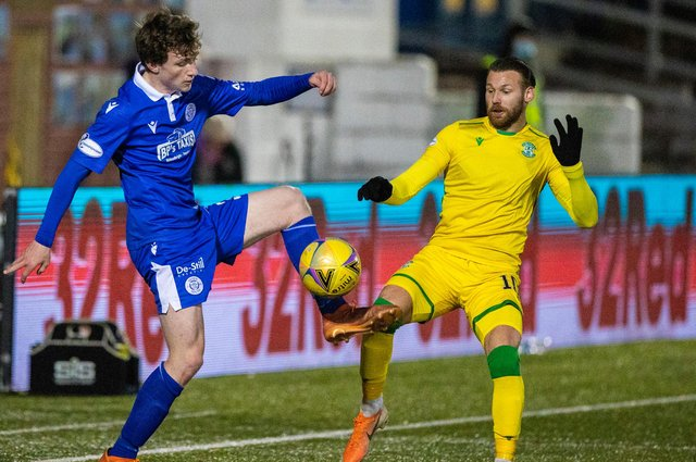 On-loan Queen of the South left-back James Maxwell (left), who still has a year left at Rangers, battles with Hibernian's Martin Boyle during this week's Scottish Cup tie  (Photo by Craig Williamson / SNS Group)