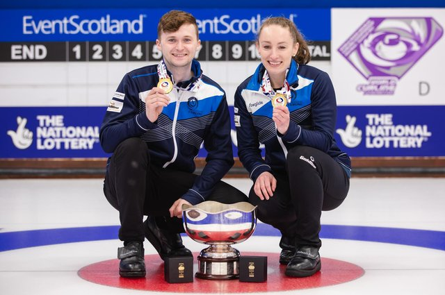 Bruce Mouat and Jen Dodds celebrate their victory for Scotland at World Mixed Doubles Curling Championship in Aberdeen. Picture: Celine Stucki/WCF