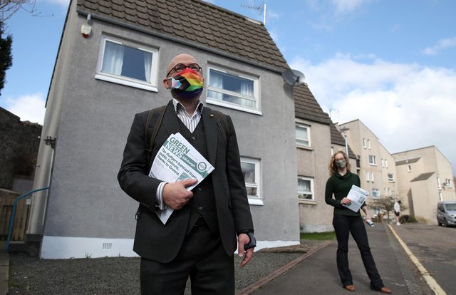 Scottish Green Party co-leaders Patrick Harvie and Lorna Slater on the local election campaign trail in Edinburgh.