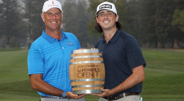 Stewart Cink and his 23-year-old son and caddie Reagan joined forces to make it a family win in the Safeway Open in California. Picture: Getty Images