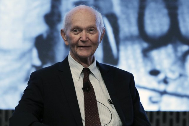 Wednesday, June 19, 2019 file photo, astronaut Michael Collins attends the JFK Space Summit at the John F. Kennedy Presidential Library in Boston.