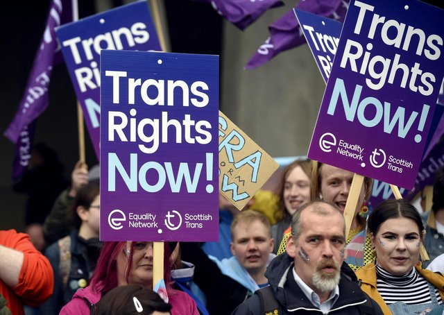 Trans rights demonstrators outside the Scottish Parliament as MSPs debated the census question on sex.
