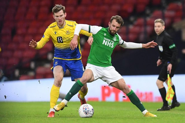 Jamie McCart and Hibs striker Christian Doidge battle for possession during St Johnstone's win at Hampden earlier in the season. Picture: SNS