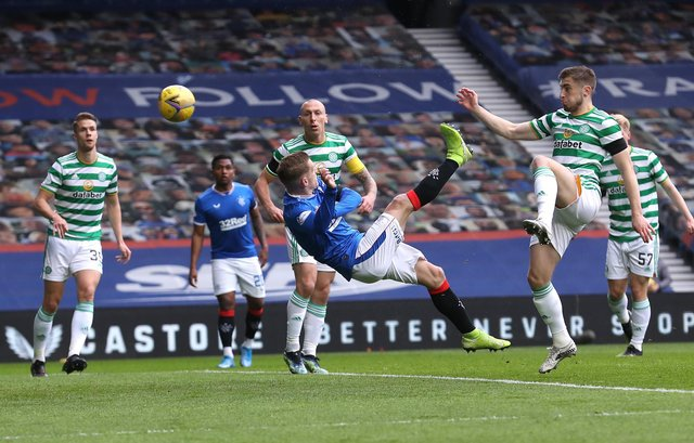 Steven Davis acrobatically makes the breakthrough for Rangers in their Scottish Cup last 16 victory over Celtic at Ibrox on Sunday. (Photo by Ian MacNicol/Getty Images)