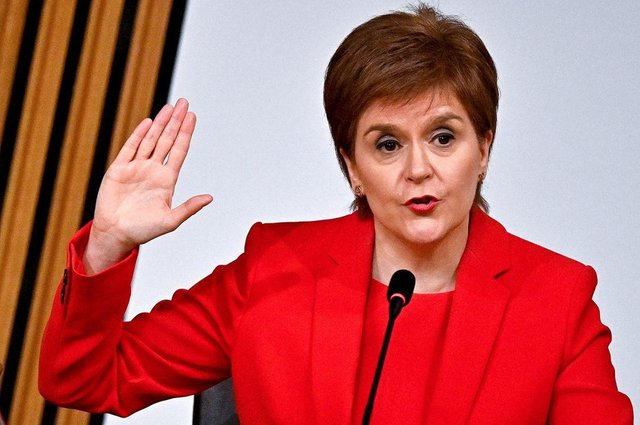 Nicola Sturgeon takes the oath before giving evidence to the Holyrood committee set up to investigate the Scottish government's handling of complaints made about Alex Salmond (Picture: Jeff J Mitchell/pool/AFP via Getty Images)