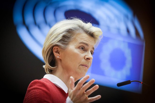 European Commission president Ursula von der Leyen delivers a speech during the debate on EU-UK trade and co-operation agreement. Picture: Oliver Hoslet/POOL/AFP via Getty Images