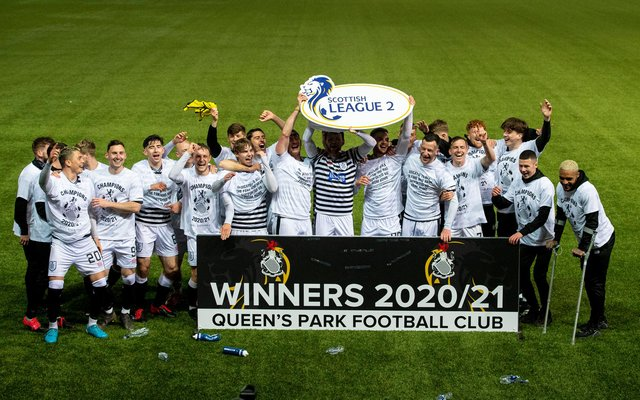 Queens Park celebrate winning the Scottish League Two title.