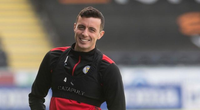 St Mirren captain Joe Shaughnessy in buoyant mood during a training session ahead of Sunday's Scottish Cup semi-final against St Johnstone. (Photo by Craig Foy / SNS Group)