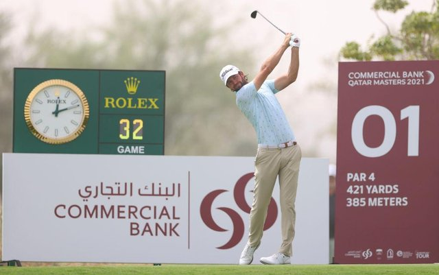 Scott Jamieson plays his tee shot on the first hole during the second round of the Commercial Bank Qatar Masters at Education City Golf Club in Doha. Picture: Richard Heathcote/Getty Images.