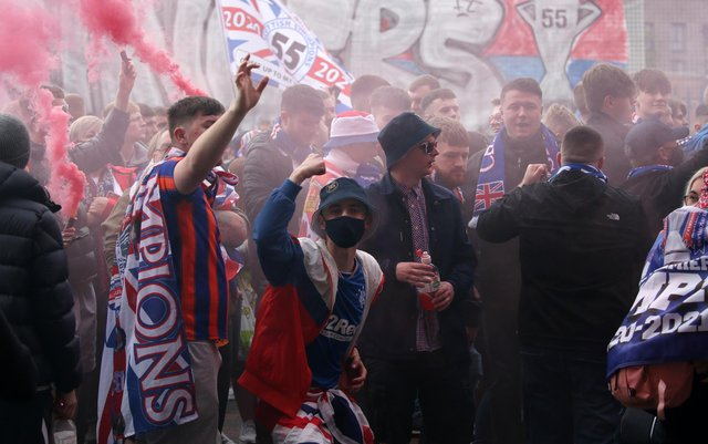 Rangers fans outside the ground before the Scottish Premiership match at Ibrox Stadium, Glasgow. PA.