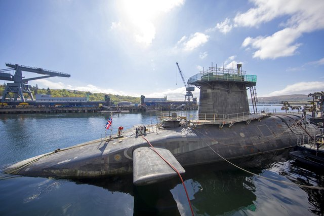 The Vanguard-class submarine HMS Vigilant, one of the UK's four nuclear warhead-carrying submarines, at HM Naval Base Clyde, Faslane (Picture: James Glossop/pool/AFP via Getty Images)