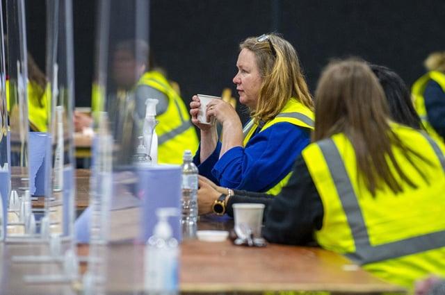 Election staff prepare to count the ballots at Ingliston near Edinburgh (Picture: Lisa Ferguson)