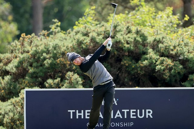 Laird Shepherd plays his tee shot on the 18th hole during his semi-final match against Jack Dyer in the R&A Amateur Championship at Nairn. Picture: David Cannon/R&A/R&A via Getty Images.