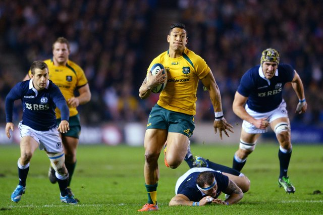 Israel Folau in action for Australia against Scotland at Murrayfield in 2013. Picture: Mark Runnacles/Getty Images