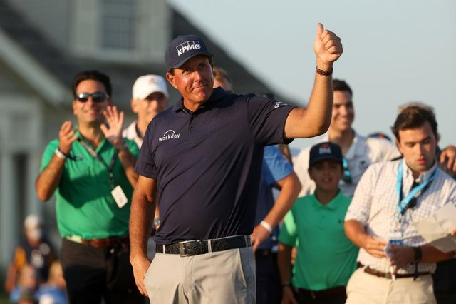 Phil Mickelson gives a thumbs up after winning the 2021 PGA Championship held at the Ocean Course of Kiawah Island Golf Resort in Kiawah Island, South Carolina. Picture: Patrick Smith/Getty Images.