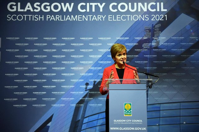 Nicola Sturgeon gives her acceptance speech after being declared the winner of the Glasgow Southside seat at Glasgow counting centre in the Emirates Arena in Glasgow on May 7 during counting for the Scottish parliament elections. (Photo by Andy Buchanan / AFP)