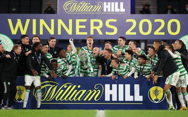 Celtic celebrate their historic quadruple treble as the 2019-20 season was formally concluded on the same weekend they went 16 points behind Rangers in the 2020-21 Premiership title race. (Photo by Ian MacNicol/Getty Images)