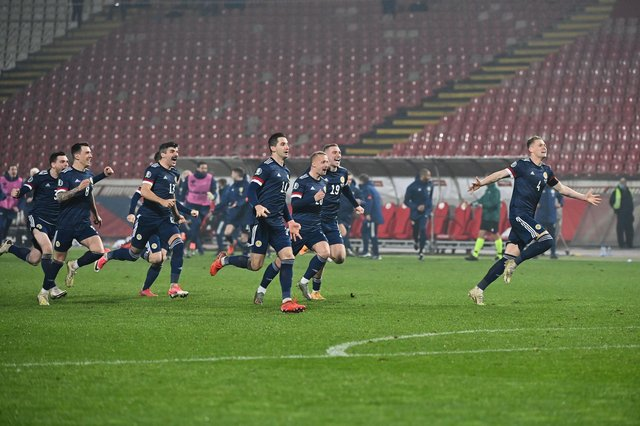Scotland's players were jubilant after the win over Serbia.