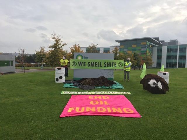 Extinction Rebellion activists protest outside BP's Aberdeen offices.
