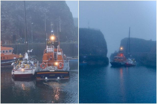 Coastguard crews assisting the Sally Belle yacht back to shore