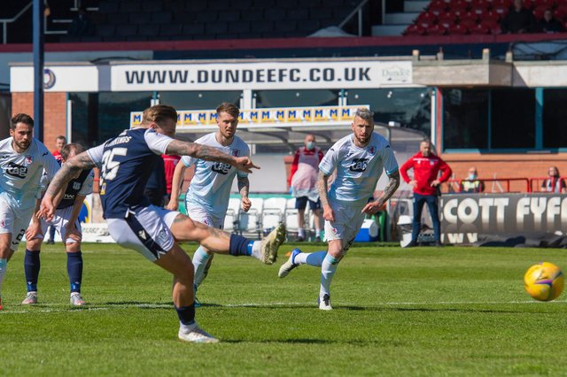 Dundee striker Jason Cummings - seen here slotting home from the spot in the 2-1 win over Raith Rovers on Saturday - is happy to be back on penalties  (Photo by Mark Scates / SNS Group)