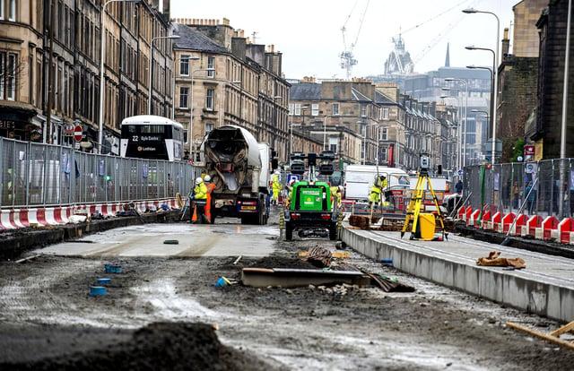 Tram works on Edinburgh's Leith Walk