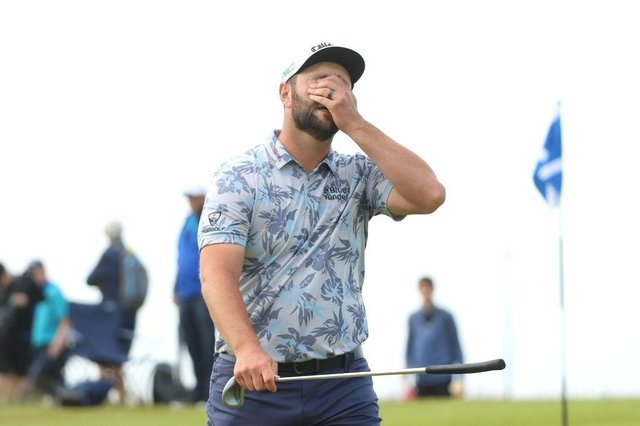 Jon Rahm reacts after missing a short putt on the 16th green in the third round of the abrdn Scottish Open at The Renaissance Club. Picture: Andrew Redington/Getty Images.